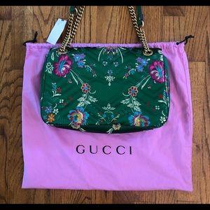 Gucci Bags - Gucci Marmont Handbag Medium Green Floral Silk